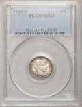 Barber Dimes: , 1910-D 10C MS63 PCGS. PCGS Population (23/40). NGC Census: (17/34).Mintage: 3,490,000. Numismedia Wsl. Price for problem f...