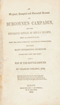 Books:Non-fiction, Charles Neilson. An Original, Compiled and Corrected Account of Burgoyne's Campaign. Albany: J. Munsell, 1844. Twelv...