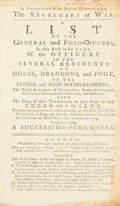 Books:First Editions, [British Army List]. A List of the General and Field-Officers,as They Rank in the Army...to November, 1763. To Which is...