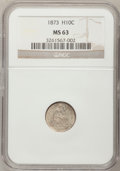 Seated Half Dimes: , 1873 H10C MS63 NGC. NGC Census: (16/50). PCGS Population (27/41).Mintage: 712,000. Numismedia Wsl. Price for problem free ...