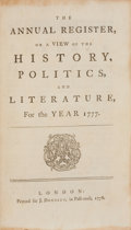 Books:Non-fiction, The Annual Register, or a View of the History, Politics, andLiterature, for the Year 1777. London: Printed for J. Dodsl...