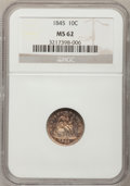 Seated Dimes: , 1845 10C MS62 NGC. NGC Census: (23/65). PCGS Population (13/41).Mintage: 1,755,000. Numismedia Wsl. Price for problem free...