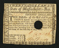 Colonial Notes:Massachusetts, Massachusetts May 5, 1780 $20 Extremely Fine-About New.. ...