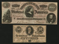 Confederate Notes:Group Lots, T65 $100 1864 & T72 50¢ 1864.. ...