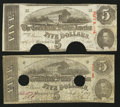 Confederate Notes:1863 Issues, T60 $5 1863 Two Examples.. ...