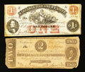 Confederate Notes:1862 Issues, T54 $2 1862.. Richmond, VA- Virginia Treasury Note $1 Oct. 21,1862. ... (Total: 2 notes)