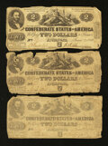 Confederate Notes:1862 Issues, T42 $2 1862 Three Examples.. ... (Total: 3 notes)