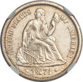 Seated Dimes, 1874-S 10C Arrows MS64 NGC. Fortin-101, R.4...
