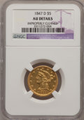 Liberty Half Eagles, 1847-D $5 --Improperly Cleaned--NGC Details. AU. Variety 17-1....