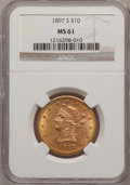 Liberty Eagles: , 1897-S $10 MS61 NGC. NGC Census: (60/31). PCGS Population (21/42).Mintage: 234,750. Numismedia Wsl. Price for problem free...