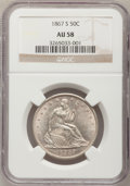 Seated Half Dollars: , 1867-S 50C AU58 NGC. NGC Census: (16/27). PCGS Population (10/17).Mintage: 1,196,000. Numismedia Wsl. Price for problem fr...