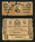 Confederate Notes:1862 Issues, $1 and $50 CSA Notes About Good or Better.. ... (Total: 4 notes)