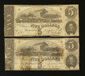 Confederate Notes:1863 Issues, T60 $5 1863. Two Examples.. ... (Total: 2 notes)