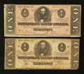 Confederate Notes:Group Lots, T-62 $1 1863 & T-71 $1 1864. ... (Total: 2 notes)
