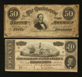 Confederate Notes:Group Lots, T66 $50 1864 & T67 $20 1864.. ... (Total: 2 notes)
