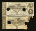 Confederate Notes:1863 Issues, T60 $5 1863 One and Two-Thirds Examples.. ... (Total: 2 notes)