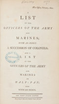 Books:Non-fiction, [British Army List]. A List of the Officers of the Army and Marines... [London]: 1800. Octavo. i[v], 714 pages. Late...