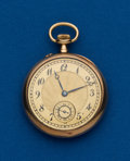 Timepieces:Pocket (post 1900), Swiss, 34 mm, 18k Gold, Open Face. ...