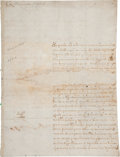 """Autographs:Non-American, Christina of Sweden Document Signed """"Christina Alexandra"""". Two pages (front and verso) in Spanish, 7.75"""" x 10"""", 1656, Ro..."""