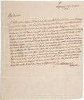 "Autographs:Non-American, Marquis de Lafayette Autograph Letter Signed ""Lafayette"".One page with integral address leaf, 7.25"" x 9"", Lagrange, Jul..."