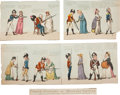 "Autographs:Artists, Isaac Cruickshank Eighteenth-Century Risqué Engravings. A set oftwo hand-colored engravings (each, an 18"" x 6.25"" panel) en...(Total: 5 Items)"