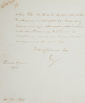 "Autographs:Non-American, Napoleon Bonaparte Letter Signed ""N P"". One page, 7.25"" x9"", Paris, March 27, 1813, in French and addressed to his adop..."