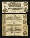 Confederate Notes:1862 Issues, T39 $100 1862;. T60 $5 1863. Two Examples.. ... (Total: 3 notes)