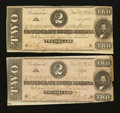 Confederate Notes:1864 Issues, T70 $2 1864. Two Examples.. ... (Total: 2 notes)