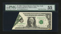 Error Notes:Foldovers, Fr. 1921-B $1 1995 Federal Reserve Note. PMG About Uncirculated55.. ...