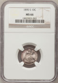 Seated Dimes, 1890-S 10C MS66 NGC. Fortin-111....