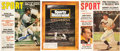 Baseball Collectibles:Publications, Willie Mays, Eddie Mathews and Harmon Killebrew Signed MagazinesLot of 3....