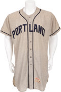 Baseball Collectibles:Uniforms, 1961 Portland Beavers Game Worn Jersey Attributed to Satchel Paige....