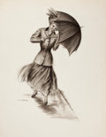 Mainstream Illustration, CHARLES GATES SHELDON (American, 1889-1960). Girl withUmbrella. Charcoal on paper. 29 x 23 in.. Signed lower left....