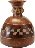 Antiques:Antiquities, Inca Bottle with Human Face...