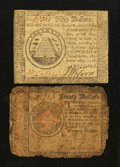 Colonial Notes:Continental Congress Issues, Two Continentals.. ... (Total: 2 notes)