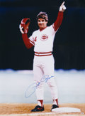 Baseball Collectibles:Photos, Pete Rose Signed Oversized Photograph....