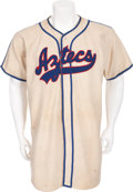 Baseball Collectibles:Uniforms, 1946 Mexico City Aztecs Game Worn Jersey....