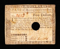 Colonial Notes:Massachusetts, Massachusetts May 5, 1780 $5 Very Fine.. ...