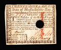 Colonial Notes:Massachusetts, Massachusetts May 5, 1780 $20 Very Fine.. ...