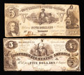 Confederate Notes:Group Lots, T36 $5 1861.. T37 $5 1861.. ... (Total: 2 notes)