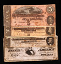 Confederate Notes:Group Lots, Mixed Lot of 1864 Confederate Notes. Four Examples.. ... (Total: 4notes)
