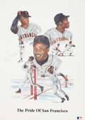 Baseball Collectibles:Others, Willie Mays and Barry Bonds Signed Lithograph....