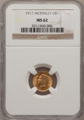 Commemorative Gold: , 1917 G$1 McKinley MS62 NGC. NGC Census: (156/1077). PCGS Population(209/2241). Mintage: 10,000. Numismedia Wsl. Price for ...