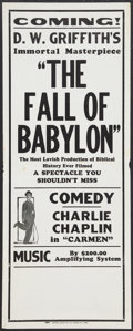 "Movie Posters:Drama, The Fall of Babylon/Charlie Chaplin (David W. Griffith Corp., R-Late 1920s). Broadside (11"" X 28""). Drama.. ..."
