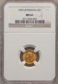 Commemorative Gold: , 1903 G$1 Louisiana Purchase/Jefferson MS61 NGC. NGC Census:(45/1866). PCGS Population (46/2959). Mintage: 17,500. Numismed...