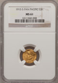 Commemorative Gold: , 1915-S G$1 Panama-Pacific Gold Dollar MS61 NGC. NGC Census:(88/3173). PCGS Population (63/4956). Mintage: 15,000. Numismed...