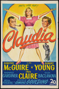"Movie Posters:Comedy, Claudia (20th Century Fox, 1943). One Sheet (27"" X 41""). Comedy....."