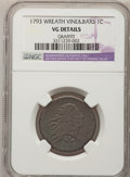 Large Cents, 1793 1C Wreath Cent, Vine and Bars--Graffiti--NGC Details. VG. S-9,B-12, R.2....