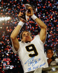 """Football Collectibles:Photos, Drew Brees """"SB XLIV MVP"""" Signed Oversized Photograph...."""