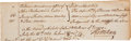 "Autographs:Statesmen, Thomas McKean Document Twice Signed ""Tho. McKean"" as aPennsylvania attorney. Partial page, 7.75"" x 2.5"", n.p., July15,..."